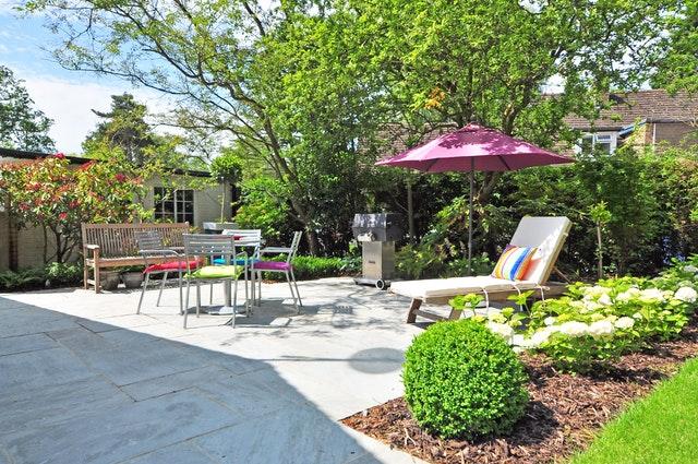 Mulch in Summer Landscape
